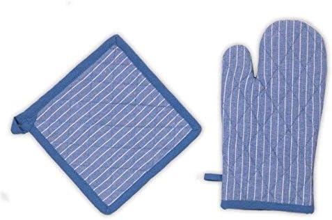 Ideal para Cocinar Resistentes al Calor Homevibes Set de 2 Guantess Y 2 Agarraderas De Cocina con Lineas Azul Celeste Guante y Agarradera para Ollas y Horno Medidas 18x30cm Ideal para Hornear