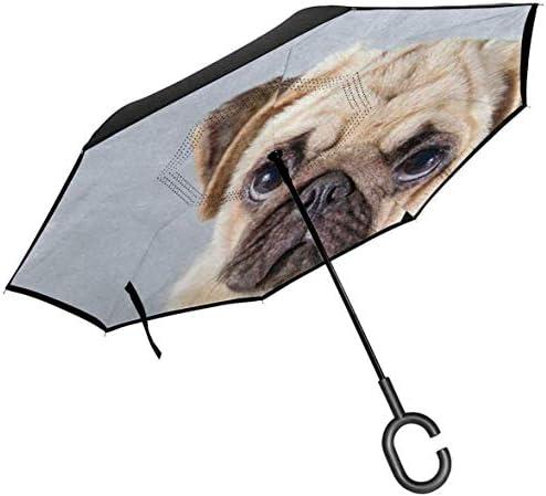 パグ子犬 ユニセックス二重層防水ストレート傘車逆折りたたみ傘C形ハンドル付き
