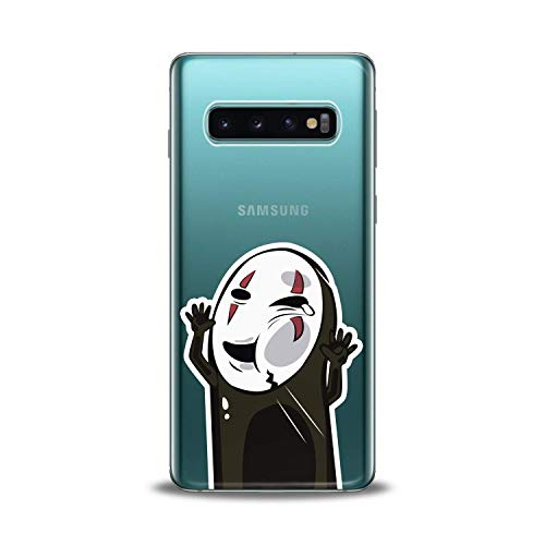 Lex Altern TPU Case for Samsung Galaxy s10 5G Plus 10e Note 9 s9 s8 s7 Kawaii No Face Pattern Cute Cover Silicone Black Print Mask Protective Japanese Boy Girl Cartoon Drawing Teen Clear Flexible Gift