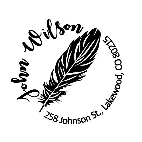 (Return Address Rubber Stamp Personalized Round Goose Quill Pen Feather British Style Design Customize Online Company Logo Brand Housewarming Gift Office Products Wedding Stamper (Diameter)