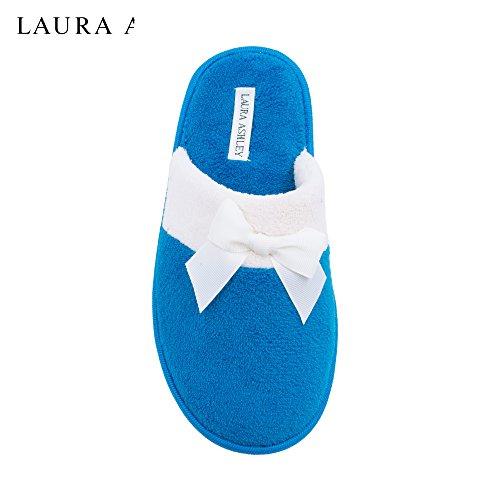 Pantofola Di Laura Ashley Signore In Lana Con Fiocco (vedi Più Colori E Taglie) Nuovo Blu