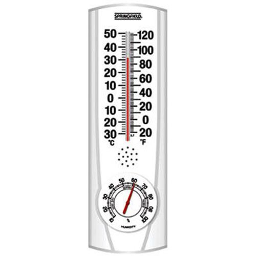 Springfield Vertical Thermometer and Hygrometer (9.125-Inch) (Plastic Thermometer)