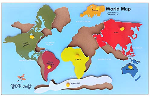 YDV CRAFT Wooden Continent World MAP Wooden Puzzles by YDV CRAFT Educational Toys for Kids Good Shape Puzzles Pieces with KNOB Wall Size Wooden Jigsaw 3 D Puzzles 4, 5 Years 7 Years Girls & Boys (B07RNCS6RF) Amazon Price History, Amazon Price Tracker