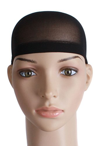 MapofBeauty 2 Pieces One Size Nylon Wig Cap (Black Wig Cap)