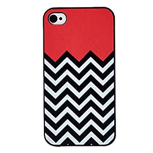 QHY Black and White Waves Coloured Drawing Pattern Black Frame PC Hard Case for iPhone 4/4S