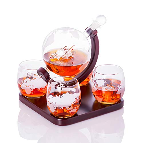 Old World Handblown Artisan Etched World Globe for Whiskey Scotch Bourbon and Fine Spirits Decanter Carafe 850mL with a Beautiful Glass Handmade Pirate Ship Inside by Sunday - Beautiful Rock