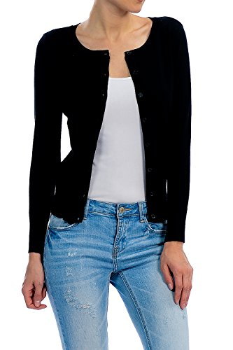 (YourStyle Basic Solid Button Up Crew Neck Cardigan Sweater (Large, Black))