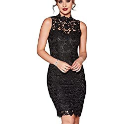 Zalalus Lace Cocktail Dress For Women Elegant High Neck Sleeveless Bodycon Plus Size Party Dress Above Knee Length Black US 14