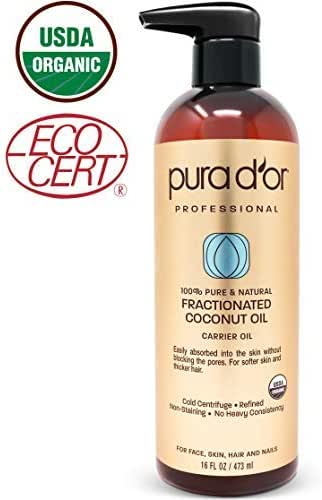 PURA D'OR Carrier Oil: Organic Fractionated Coconut Oil 16 oz - USDA Certified Organic 100% Pure & Natural Moisturizing Carrier Oil For Face, Skin, and Hair