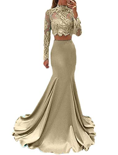 Meaningful Women's Long Sleeve Dress for Graduation High Neck Mermaid 2 Piece Prom Dresseses Size 12 Champagne - Halter Taffeta Mermaid Gown