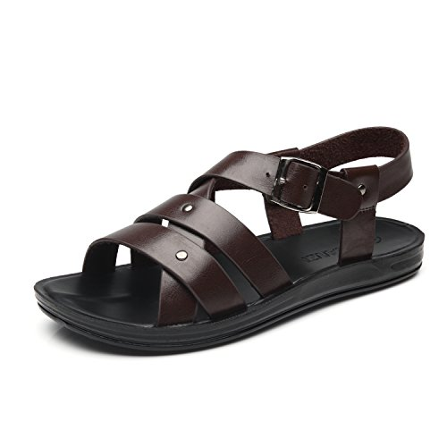 Faranzi Mens Sandals of Gladiator Style Leather Open Toe Outdoor Strap Heel Sandals Fashion Casual Comfortable Sandals ()