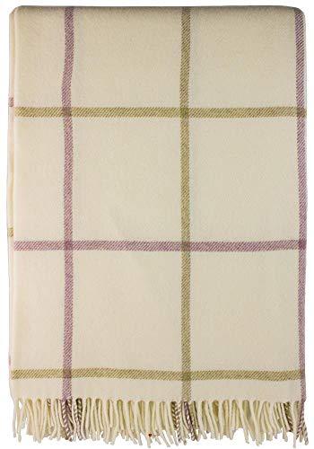 iLuv Large Soft Luxury Lambswool Merino Tattersall Throw - - Wool Tattersall