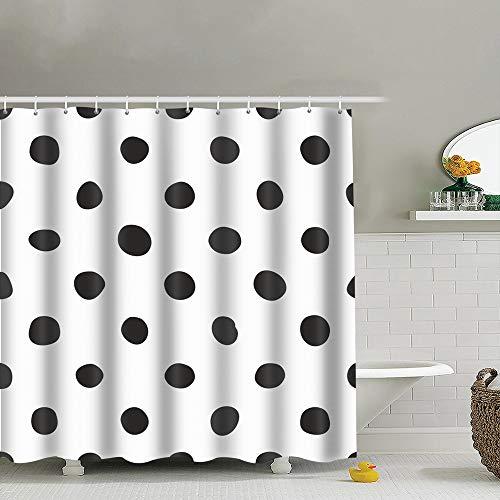 best bags Tile Black Polka Dot Uphome Fabric Shower Curtain,Bathroom Cloth Shower Curtain Set with Hooks, Heavy Duty Waterproof, 66X72 -