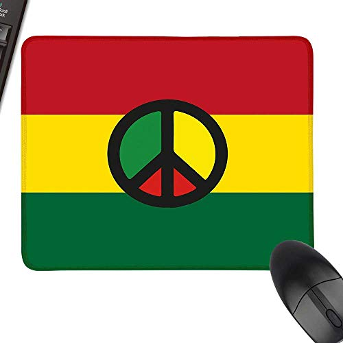 Jamaican Gaming Mousepad Reggae Culture Peace Symbol Caribbean Country Flag Design Americas Rasta Culture with Stitched Edges 11.8
