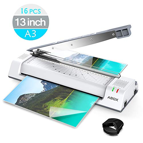 ABOX 13'' OL381 Thermal Laminator Machine for A3/A4/A6,Two Roller System,Jam-Release Switch,Cutter and Safety Lock,Fast Warm-up,Quick Laminating Speed for Home/Office/School,with 16 (Best Laminators)