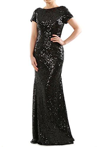 MACloth Mermaid Cap Sleeves Sequin Long Bridesmaid Formal Dress Evening Gown Schwarz dK4xYaJ