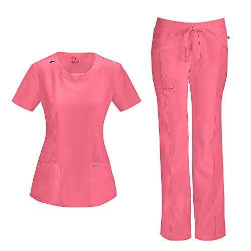 Cherokee Infinity Women's with Certainty Round Neck Top 2624A & Low Rise Drawstring Pant 1123A Scrub Set (Antimicrobial) (Coral Craze - Medium/Small Petite)