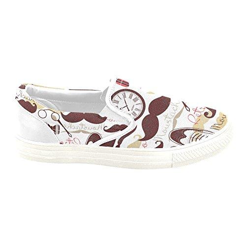 D-story Custom Sneaker Retro Baffi Donne Insolite Scarpe Di Tela Slip-on