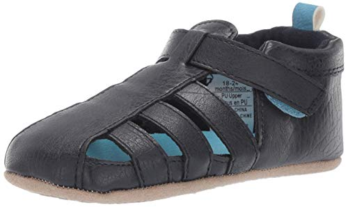 Ro + Me by Robeez Boys' Andrew Sandal Crib Shoe, Navy, 6-12 Months