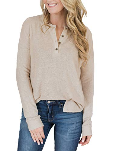 Womens Henley Tops Plus Size Long Sleeve Shirts Fall V Neck Button Down Ribbed Knit Casual Blouse Tshirts
