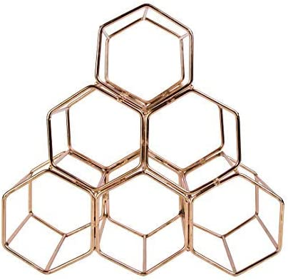 Koyal Wholesale Modern Metal Brass Geometric Wine Rack Wine Glass Holder Countertop Wine Rack 12.5-inches 6 Bottle Wine Glass Rack Stand Table Top Hexagon Iron Wine Stand for Kitchen and Bar