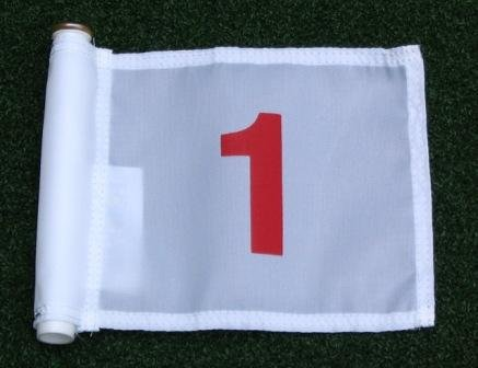 Set of Red Numbered #1, #2, #3, #4, and #5 each printed on a solid White Jr. (8'' L x 6'' H) 400 Denier Pin Marker Flag For Golf & Putting Green Applications