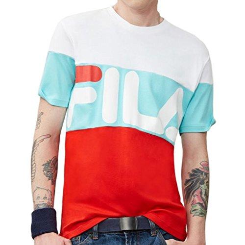Fila Men's VIalli T-Shirt, White, Aruba Blue, Fiery Red, M -