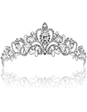 Vinsco Crystal Tiara Crown Headband Headpiece Rhinestone Hair Jewelry Decor for Women Ladies Little Girls Bridal Bride Princess Birthday Wedding Pageant Prom Party with Pin Holes Sliver(Style 2)