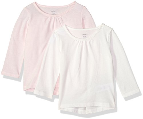 Carter's Baby Girls' 2-Pack Long-Sleeve Tee, White/Light Pink, 12 Months