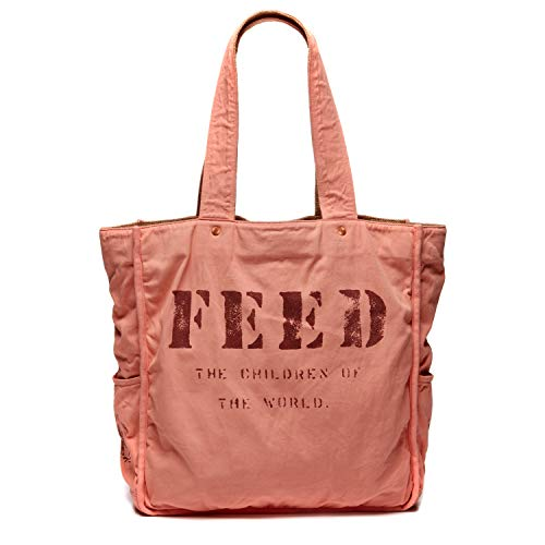 FEED Women's Natural Cotton & Burlap Reversible FEED 1 Tote Bag with Pocket for iPad - Rose (1 Feed)