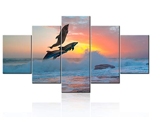 - 5 Piece Canvas Wall Art Fish Landscape Picture for Living Room Dolphins Surfing at Sunset Paintings Giclee Modern Home Decor Sea View Artwork Stretched and Framed Ready to Hang Wallpaper - 60