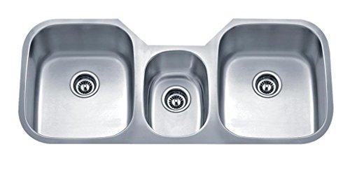 Wells Sinkware SSU4621-979 18-Gauge Undermount Triple-Bowl Kitchen Sink, Stainless Steel - Kitchen Triple Bowl Sink