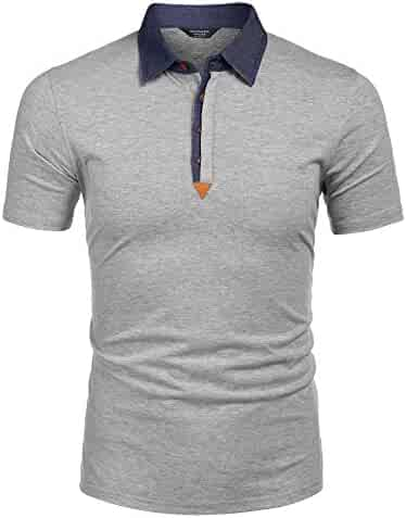 402c7256 COOFANDY Men's Short Sleeve Polo Shirts Casual Slim Fit Lightweight Cotton T  Shirts