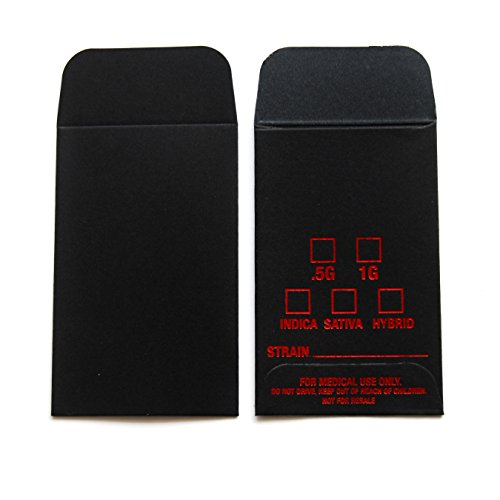 500 Black Red Oil Wax Extract Coin Envelopes 2.25'' X 3.5'' Foil Label Version #011 by Shatter Labels