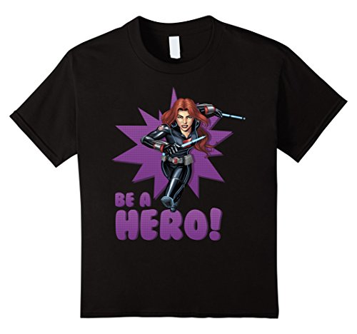 Kids Black Widow Avengers Assemble BE A HERO! Graphic T-Shirt 6 Black (Black Widow Avengers)