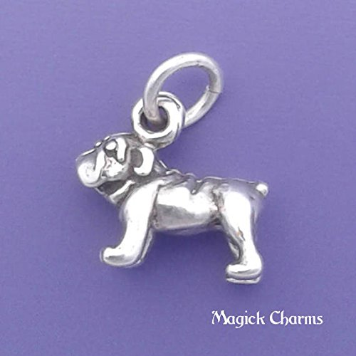 (925 Sterling Silver 3-D Bulldog Bull Dog Charm Miniature Jewelry Making Supply, Pendant, Charms, Bracelet, DIY Crafting by Wholesale)
