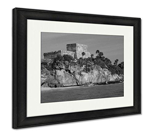 Ashley Framed Prints Cancun Tulum Mayruins Mexico, Wall Art Home Decoration, Black/White, 26x30 (Frame Size), Black Frame, AG5946832 ()