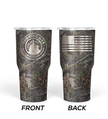 WATERFOWL HUNTING GIFT 30 oz Stainless Steel Double Wall Insulated Double Engraved Tumbler Duck Camo