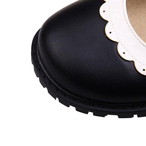 Amoonyfashion Kvinners Runde Tå Spenne Pu Assortert Farge Lave Hæler Pumper-sko Svart