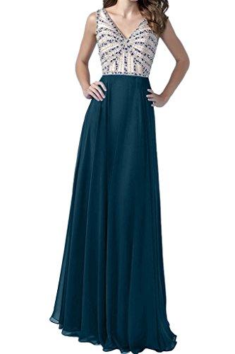 ivyd ressing Mujer Fácil V de pico Ball vestido gasa de largo Party Prom vestido fijo para vestido de noche azul oscuro