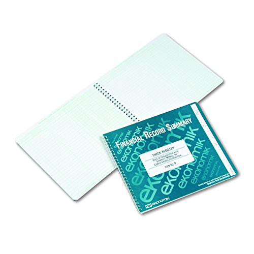 Ekonomik R Wirebound Check Register Accounting System, 8 3/4 x 10, 40-Page Book