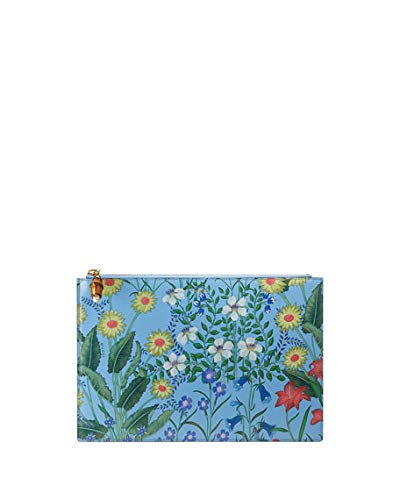 Gucci Flora Azure Floral Blue Pouch Zipper Zip Leather Box Italy Flower New