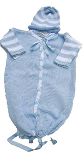 Bt95d_b, Denim Cotton Baby Blue Trim Baby Bunting Sweater,hat Set by Gita