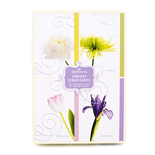 Hallmark Assorted Sympathy Greeting Cards (Flowers, 12 Cards and Envelopes)