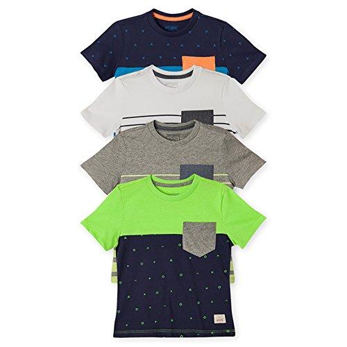 OFFCORSS Toddler Boys Pocket Striped Short Sleeve Tee Shirt Clothing Kids Printed Clothes Cotton Summer Camisetas para Bebe Ropa de Nios 4PACK 18 M