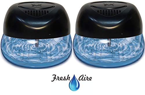 2-Pack Fresh Aire Machines Includes a Bottle of Eucalyptus Fragrance. Black Color Water-Based Purifier with 6 LED Color Changing Light. Air Freshner for Small and Large Rooms