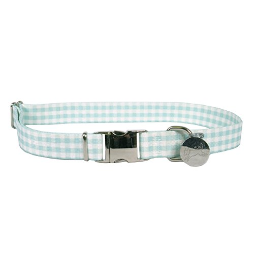 Yellow Dog Design Southern Dawg Gingham Mint Premium Dog Collar-Size X-Small-3/8 Wide and fits Neck 8 to 12