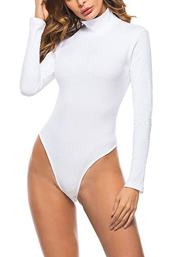 Symptor Laucote Womens Sexy Turtleneck Ribbed Bodysuit With Long Sleeve Bodycon Fit Jumpsuit White (Long Sleeve T-shirt Bodysuit)