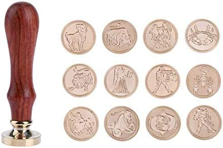 Color: Aquarius Salemi 12 Styles DIY Retro Wood Stamps Sealing Wax Stamps Customs Sealing for Invitation Paper Card Decoration