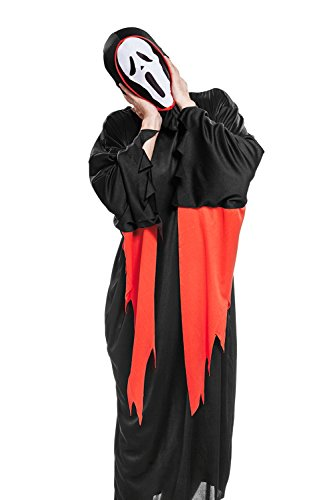 [Adult Black Killer Halloween Costume Ghost Face Scarecrow Dress Up & Role Play (Medium/Large, black, white,] (Scary Scarecrow Halloween Costumes)
